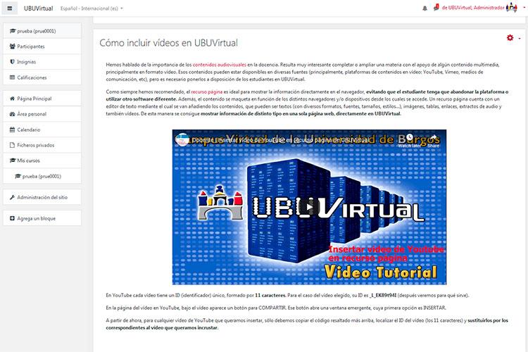Cómo incluir vídeos en UBUVirtual