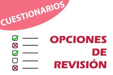 Opciones de revisión en los cuestionarios
