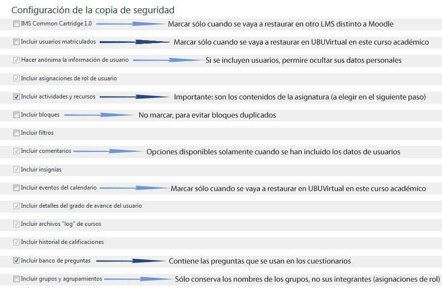 Ajustes iniciales de Copia de Seguridad en UBUVirtual.
