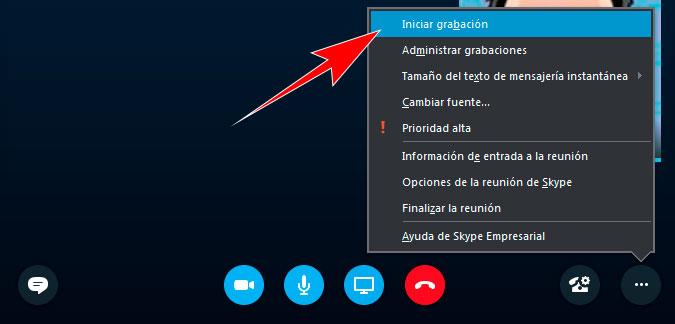 Iniciar grabación en Skype Empresarial