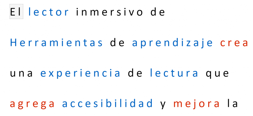 Muestra de un texto en el lector inmersivo resaltando los sustantivos y los verbos. Universidad de Burgos.