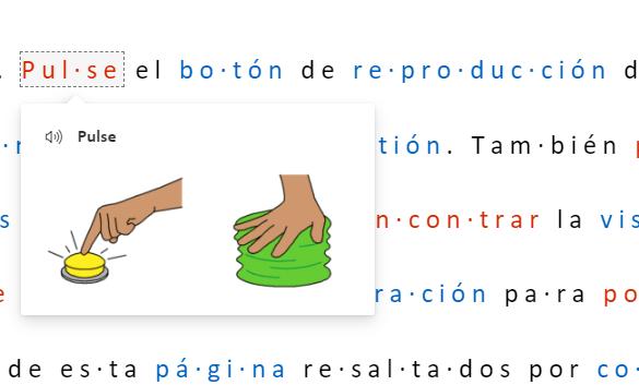 Muestra de un texto en el lector inmersivo en el que aparece el diccionario de imágenes. Universidad de Burgos.