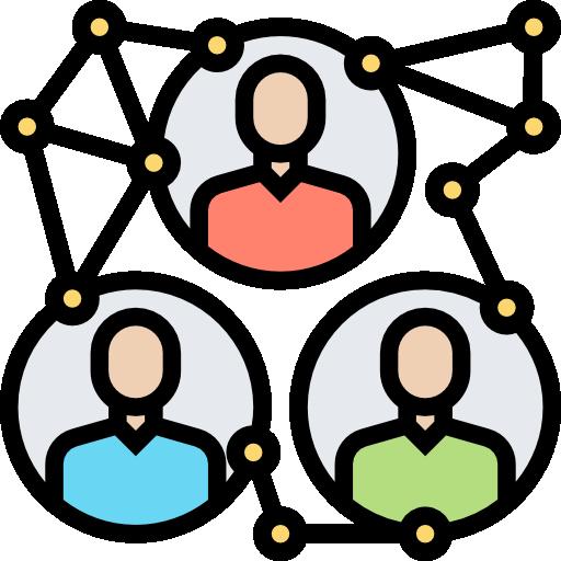Imagen que representa a tres personas unidas por varios nodos de conexión. A modo de red de aprendizaje.