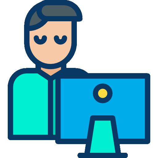 Imagen que representa a un estudiante en línea delante de un ordenador.