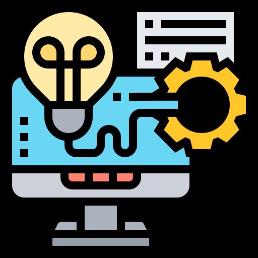 Imagen que representa un conjunto de herramientas tecnológicas conectadas a través de un ordenador (bombilla, rueda, papel, etc.).