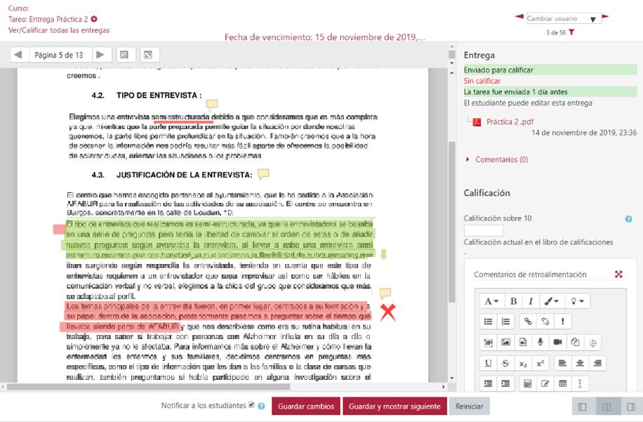 Vista de la herramienta de anotaciones en PDF