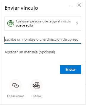 Compartir en OneDrive con cualquier persona que tenga el vínculo.