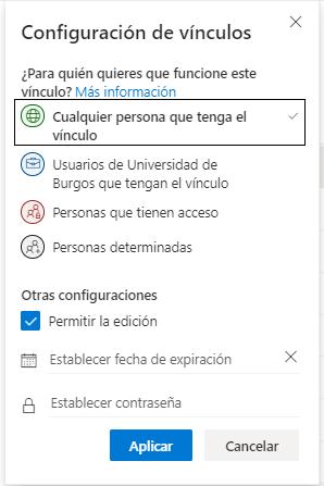 Opciones para compartir en OneDrive.