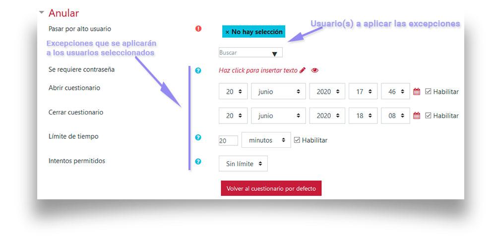 Pantalla de configuración de las excepciones de usuario