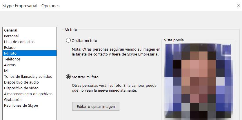 Espacio personal en Skype Empresarial