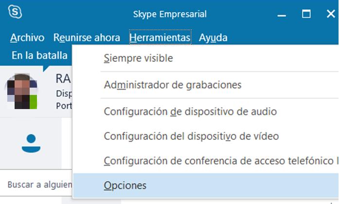 Barra de herramientas de Skype Empresarial