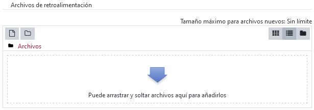 Área para gestionar los archivos de retroalimentación